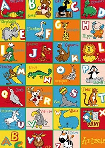 Kids Children Alphabet Animal 5 X 7 Educational Gel Rug by Persian Rugs