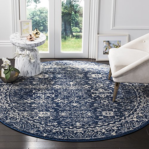 Safavieh EVK270A-3R Evoke Collection Navy and Ivory Round Area Rug, 3'