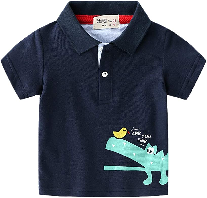 Black Grey White 12Months-6Years Coralup Little Boys Cotton Polo Shirts Kids Short Sleeve Dinosaur T-Shirt Summer Tops for Toddler