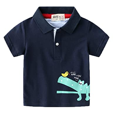 ec741a58f Koupa Kids Short Sleeve Polo Shirts Boys Casual Cartoon Printing T-Shirt  School Uniform Toddler