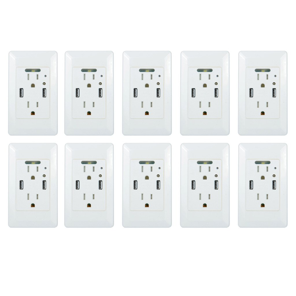 GREENCYCLE 10PK White 4.2A Smart Ultra Speed AC USB Wall Outlet 15A Home Socket Receptacle Adatper with Power-saving Auto LED Nightlight Sensor ,ETL Listed by greencycle