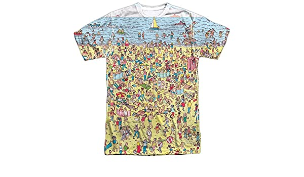 81f8f7b7cc Amazon.com: Trevco Waldo Beach Scene Unisex Adult Front Only Sublimated T  Shirt for Men and Women: Clothing