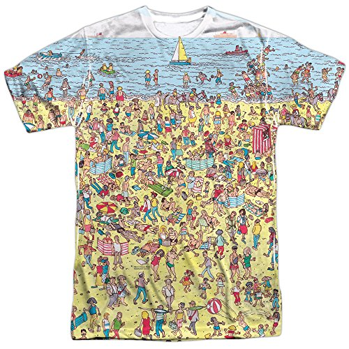 Where's Waldo Beach Scene Unisex Adult Front Only Sublimated T Shirt for Men and Women White