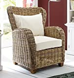 NovaSolo Wickerworks Queen Chair with Seat and Back Cushions, Big, Gray