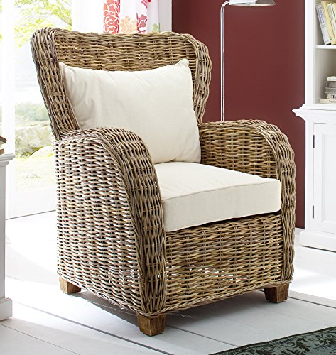 NovaSolo Wickerworks Queen Chair with Seat and Back Cushions, Big, Gray by NovaSolo