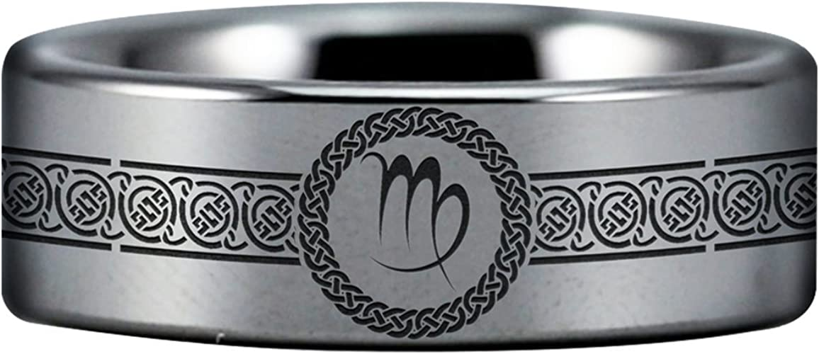 Tungsten Carbide Virgo Ring Perfect Gift Wedding Band and Anniversary Ring Inspired by Astrology and Signs Fine Jewelry Designed For Maximum Comfort Fit For Men And Women Use