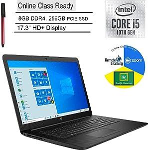 """2020 HP 17 17.3"""" HD+ Laptop Computer_ 10th Gen Intel Quad-Core i5 1035G1 (Beats i7-7500u)_ 8GB DDR4_ 256GB PCIe SSD_ DVDRW_ Online Class Ready_ Webcam_ Microphone_ Windows 10_ BROAGE 64GB Flash Drive"""
