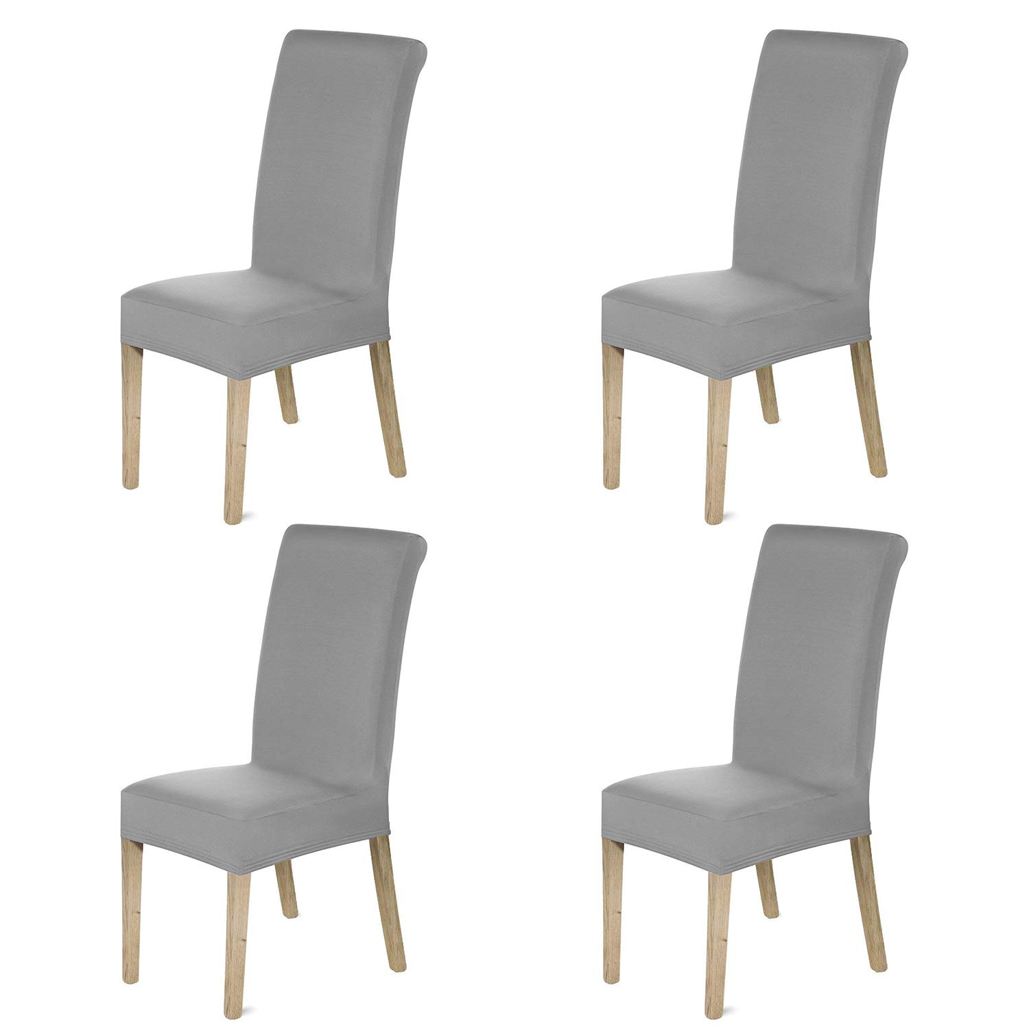 HOMFA Stretch Dining Room Chair Slipcover Washable Polyester Spandex Seat Furniture Protector Covers Hotel Ceremony (Gray ,Set of 4)