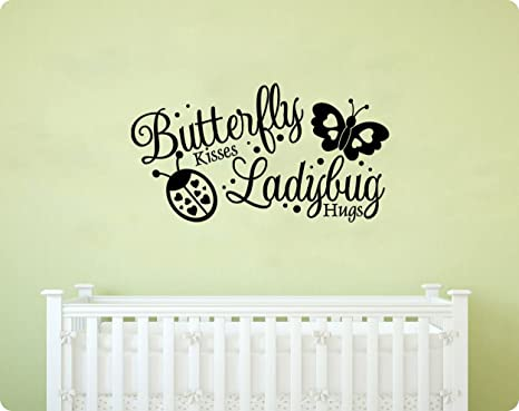 Butterfly Kisses /& Ladybug Hugs Vinyl Wall Decal Sticker Home Décor Family