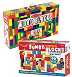 Bundle Includes 2 Items - Melissa & Doug 200 Wood Block Set and Melissa & Doug Jumbo Extra-Thick Cardboard Building Blocks - 40 Blocks in 3 Sizes