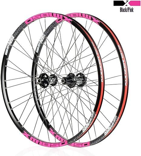 MZPWJD Juego Ruedas Bicicleta 26 27.5 Pulgadas MTB Llanta Aleación Doble Pared 23mm Cassette Hub Rodamiento Sellado Freno Disco QR 8-11 Velocidad 1850g 32H: Amazon.es: Deportes y aire libre