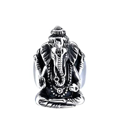 HIJONES Men's Stainless Steel Thailand Elephant Head Ring Buddha