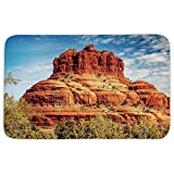 Rectangular Area Rug Mat Rug,Western,Famous Bell Rock and Courthouse Butte in Sedona Arizona USA Nature Desert Decorative,Cinnamon Blue Green,Home Decor Mat with Non Slip Backing