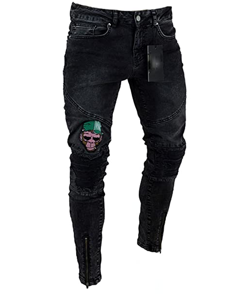 Jueshanzj - Hombre Jeans Tapered con Dibujos de Animado ...