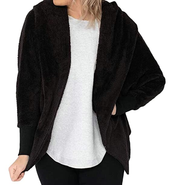 2e79477dd216 BYWX Women Casual Thermal Solid Long Sleeve Comfy Hooded Fashion Outerwear  Black US XS