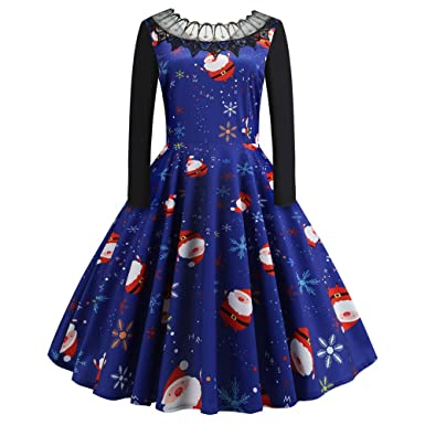 f5ba456cb172 Ladies Long Sleeve Winter Christmas Fancy Dress Xmas Gifts Vintage Novelty  Printed Lace Round Neck Cocktail Party Swing Dresses: Amazon.co.uk: Clothing