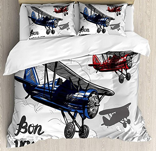 (Going Away Party Bet Set 4pcs Bedding Sets Duvet Cover Flat Sheet with Decorative Pillow Cases Queen Size for Kids Adults Teens-Retro Airplane Poster Inspired Bon Voyage Lets Travel Fly Vintage Print)