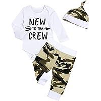 Ropa de bebé recién Nacido Nuevo en Equipo 3 Piezas Trajes Sombrero de Mameluco Otoño Invierno Conjunto de Pantalones de…