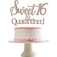 Rose Gold Glittery Sweet 16 & Quarantined Cake Topper- 16th Quarantined Birthday Party Decorations,Social Distancing…