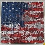 BINGO FLAG Funny Fabric Shower Curtain Watercolor USA Flag Waterproof Bathroom Decor With Hooks 60 X 72 Inch
