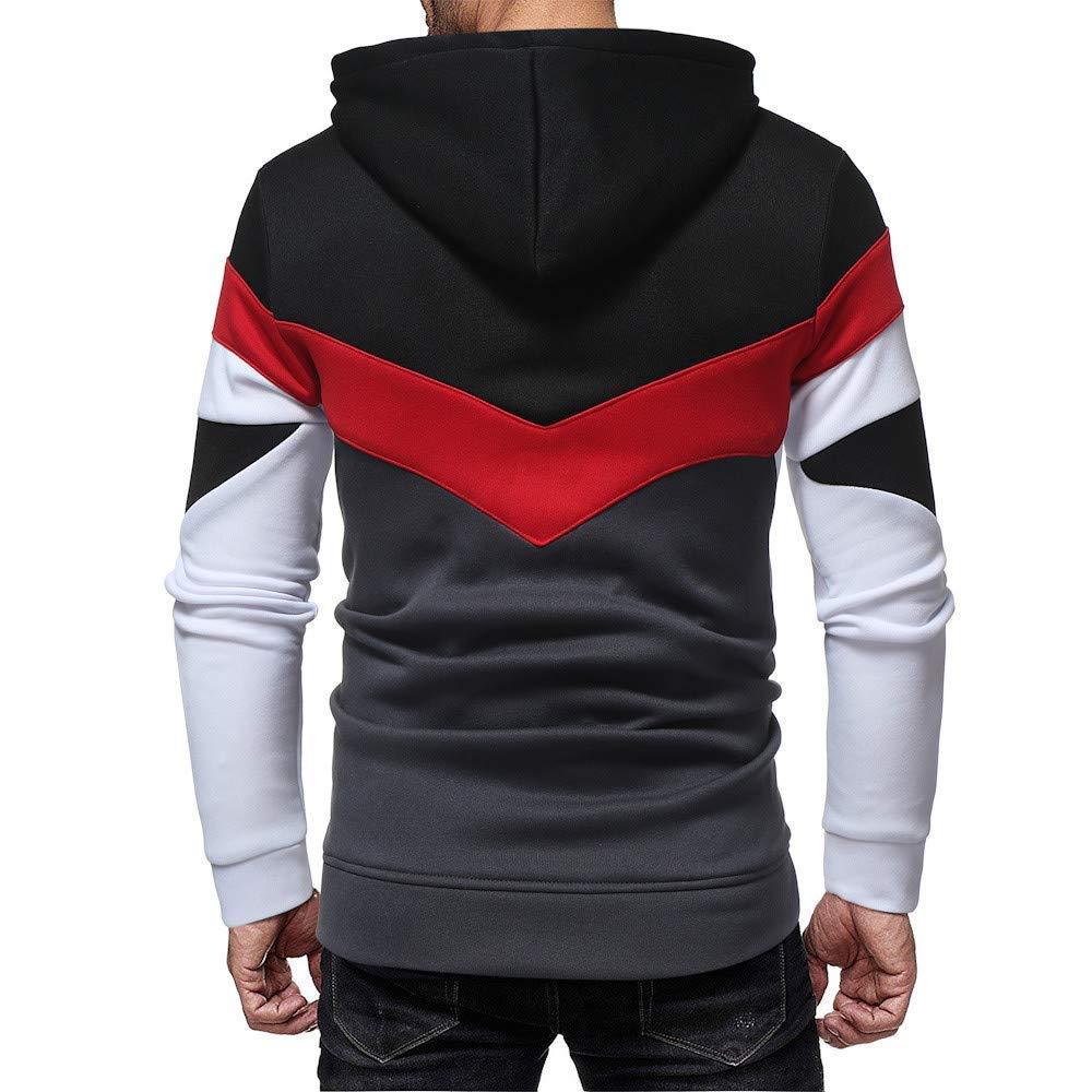 LYLIFE Mens Clothes Mens Fahsion Patchwork Autumn Casual Hoodie Sport Sweatshirt