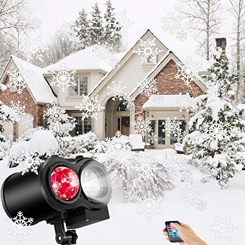 2 in 1 Christma Decoration Projector Lights with Remote Controller - Ripple Ocean Lights with 16 Slides Projection Lighting for Xmas House Party Decor -