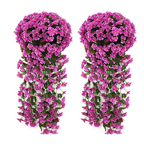 Evoio Artificial Violet Ivy Flowers, 2PCS DIY Hanging Basket Garland Wedding Wall Ratta Silk String Floral Decoration (Purple)