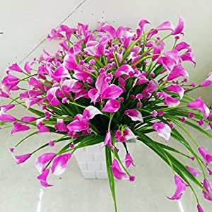 A bunch of Artificial Calla with Leaf Bouquet Plastic Fake lily Aquatic Plants 85