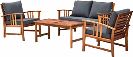 Outsunny Set Tavolino E Sedie Da Giardino In Legno Set 4 Mobili Da Giardino Salotto Da Giardino Amazon It Giardino E Giardinaggio