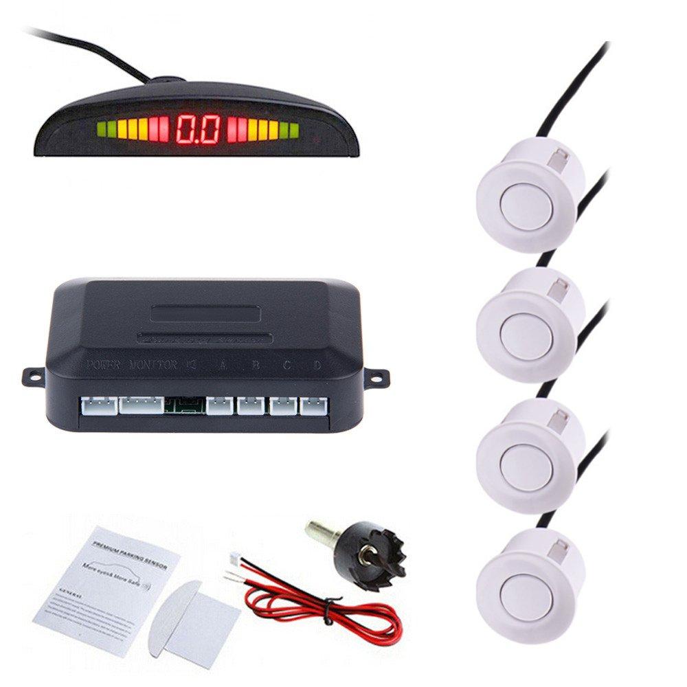 Tiemahun LED Parking Sensors Car Auto Vehicle Reverse Backup Radar System, Sound Warning, Water resistant anti-freeze, 22MM Diameter Sensor 2.3M Cable X68D (White)