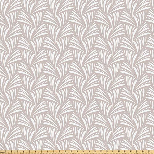 Ambesonne Art Deco Fabric by The Yard, Damask Style Geometric Seashell Inspired Wavy Stripes and Pointilistic Lines, Microfiber Fabric for Arts and Crafts Textiles & Decor, 3 Yards, Dust White from Ambesonne