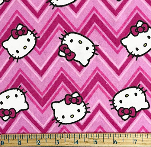 Hello Kitty Cotton or Flannel Fabric - Officially Licensed (Great for Quilting, Sewing, Craft Projects, Throw Pillows & More) (Hello Kitty Chevron Flannel, 1 Yard X 44