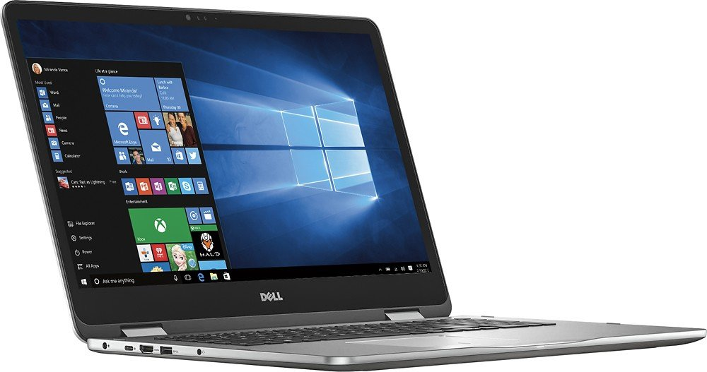 Dell High Performance Flagship 7000 Series Inspiron 17.3'' 2-in-1 FHD IPS Touch-Screen Laptop, Intel Core i7-7500U, 16GB DDR4, 512GB SSD + 2TB HDD, Backlit keyboard, NVIDIA GeForce 940MX, Windows 10