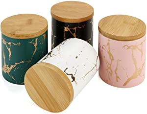 Set of 4 Piece Tea Storage Jar Containers with Airtight Bamboo Lid, Ceramics Tea Canister Portable Sealed Food Storage Tank Cans Store Tea/Honey/Seed/Coffee