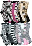20 Pairs Of WSD Womens Cotton Crew Socks, Soft Touch, Many Colors (20 Pairs Assorted Animal Prints)