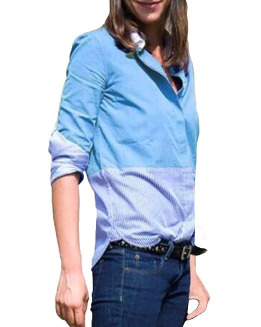 Auxo Camiseta Mujeres Manga Larga Tops Blusa Rayas Botón Camisas Slim Otoño Casual OL Formal T