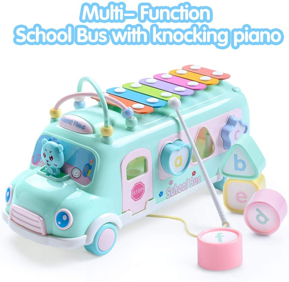 Toddler Piano Bus Toys with Shape Puzzles Knocking Piano Music Educational Toys Gifts for Baby EFOSHM Intellectual School Bus Baby Toy Blue Preschooler