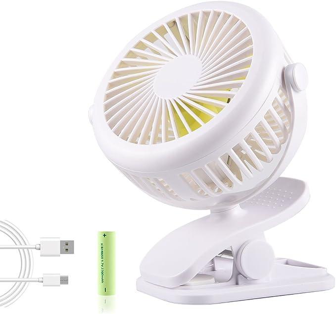 Mini Ventilador USB con Clip, BACKTURE Ventilador de Mesa Portátil, Ventilador de Escritorio Silencioso para Hogar, Oficina, Dormitorio, Cochecito de Bebé, Viajar ...