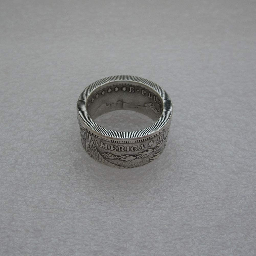 suiwoyoujooact Coin Ring Handcraft Rings Vintage Handmade from Replica Morgan Dollar Random Date Eagle Chritmas Gift
