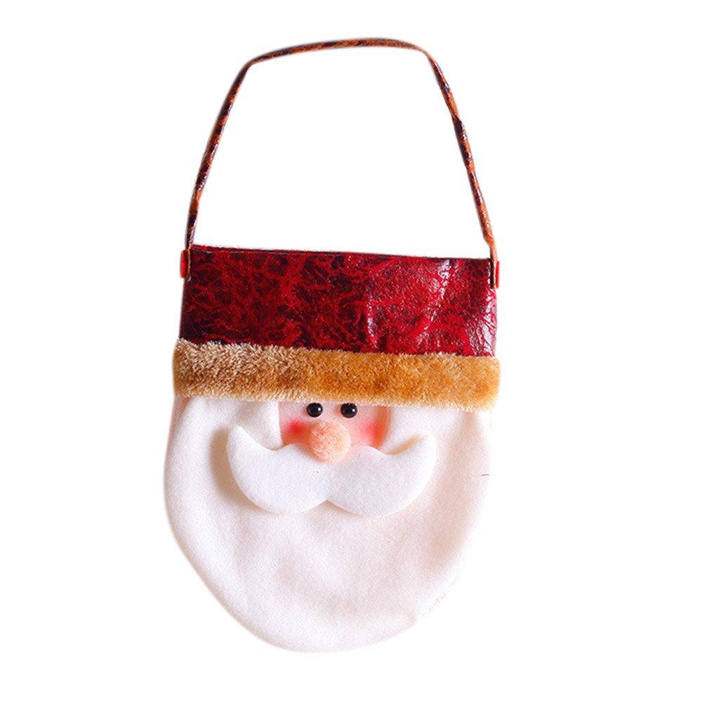 Paymenow Christmas Decorations Mini Christmas Stockings Reusable Snowman Reindeer Gift Cards Stocking Christmas Tree Hanging Decorating Treat Bag (A)