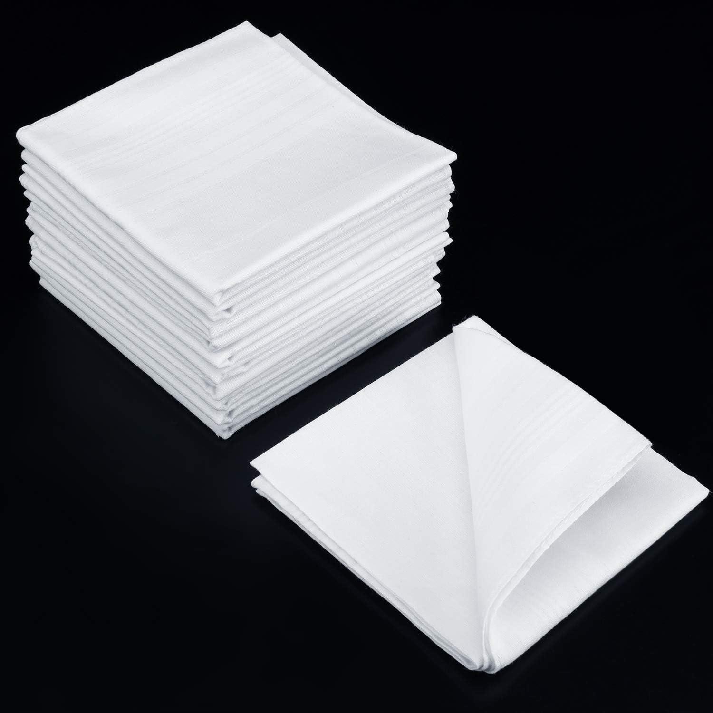 18 Pezzi Bandana Quadrata da Uomo Morbido Bandane di Cotone Hankie Bianco Classico da Uomo