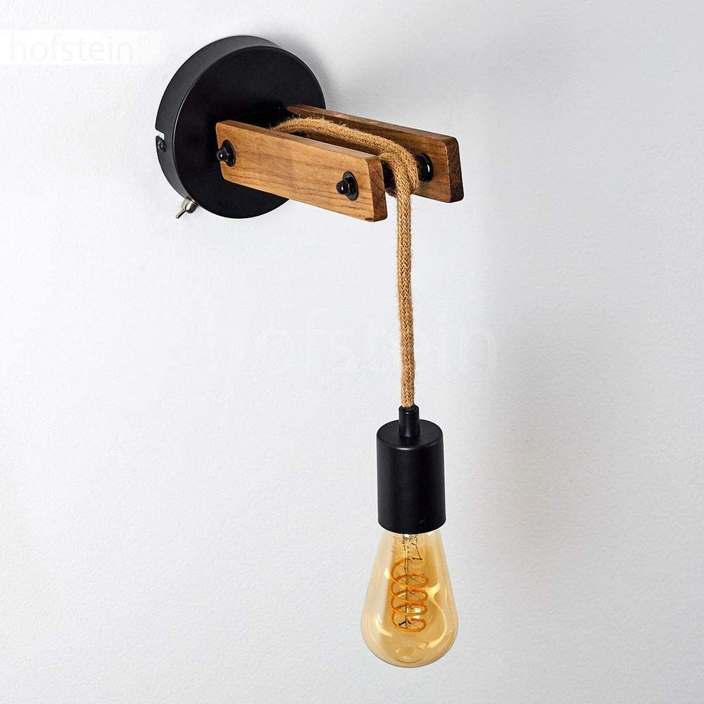 Wandspot im Retro//Vintage Design mit An-//Ausschalter am Geh/äuse Wandleuchte Aarhus LED geeignet verstellbare Wandlampe aus Metall//Holz//Hanfseil in Schwarz//Natur 1-flammig 1 x E27 max 60 Watt