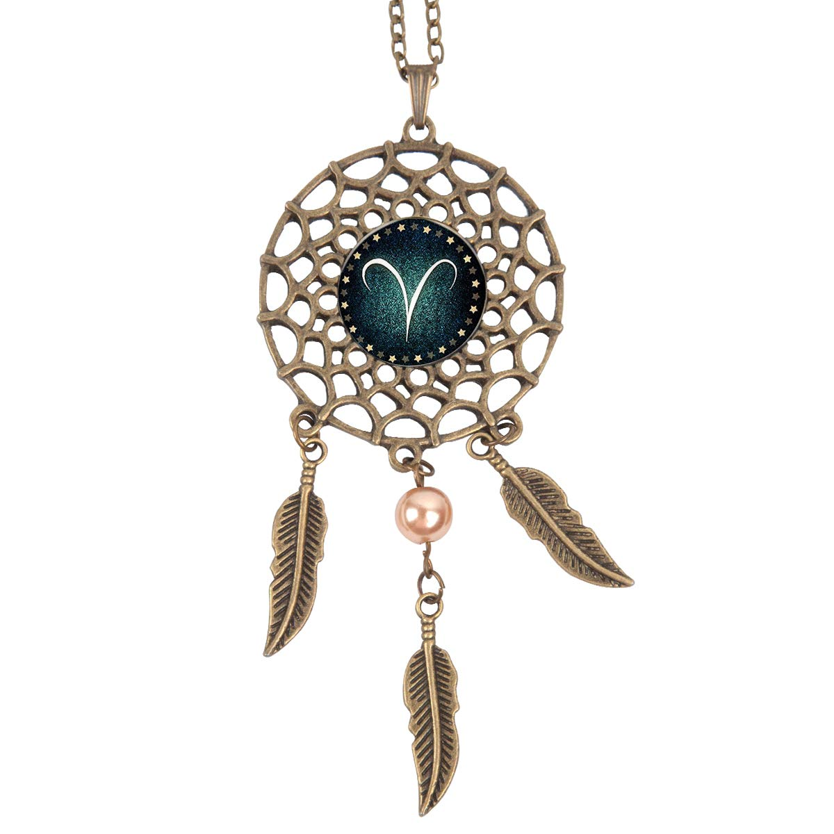 Queen Area Dream Catcher Necklace Aries Pendant Dangling Feather Tassel Bead Charm Chain Jewelry for Women