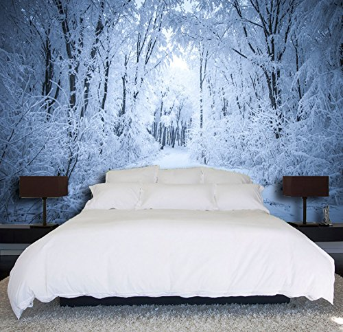 "3D White Snow Forest 36 Wall Paper Print Decal Deco Indoor Wall Mural Self-Adhesive Wallpaper AJ Wallpaper US Carly (Vinyl (No Glue & Removable), 【164""x100""】 416x254cm ()"