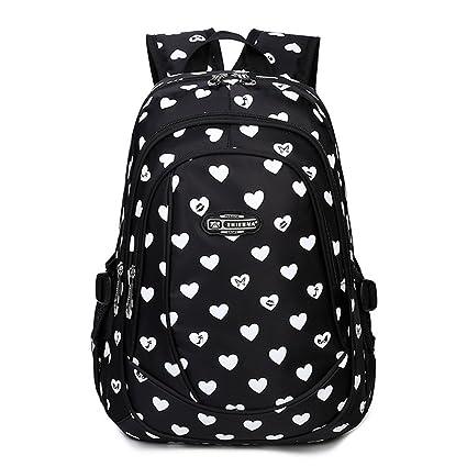 Abshoo Heart Printed School Backpacks For Girls Cute Primary School Bookbags (Black)