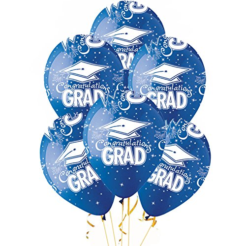 Graduation Balloons PARTY-TEX 11 inch Premium Crystal Sapphire Blue with All-Over Print White Congrats-Grad Caps Pkg/12