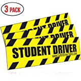 """OVERSIZED 13""""x4"""" Student Driver Magnets, Reflective Deluxe SET OF 3 by Safer Driver Signs"""