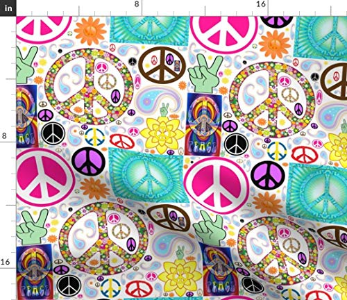 Spoonflower Peace Fabric - Sign Symbol Collage Mash