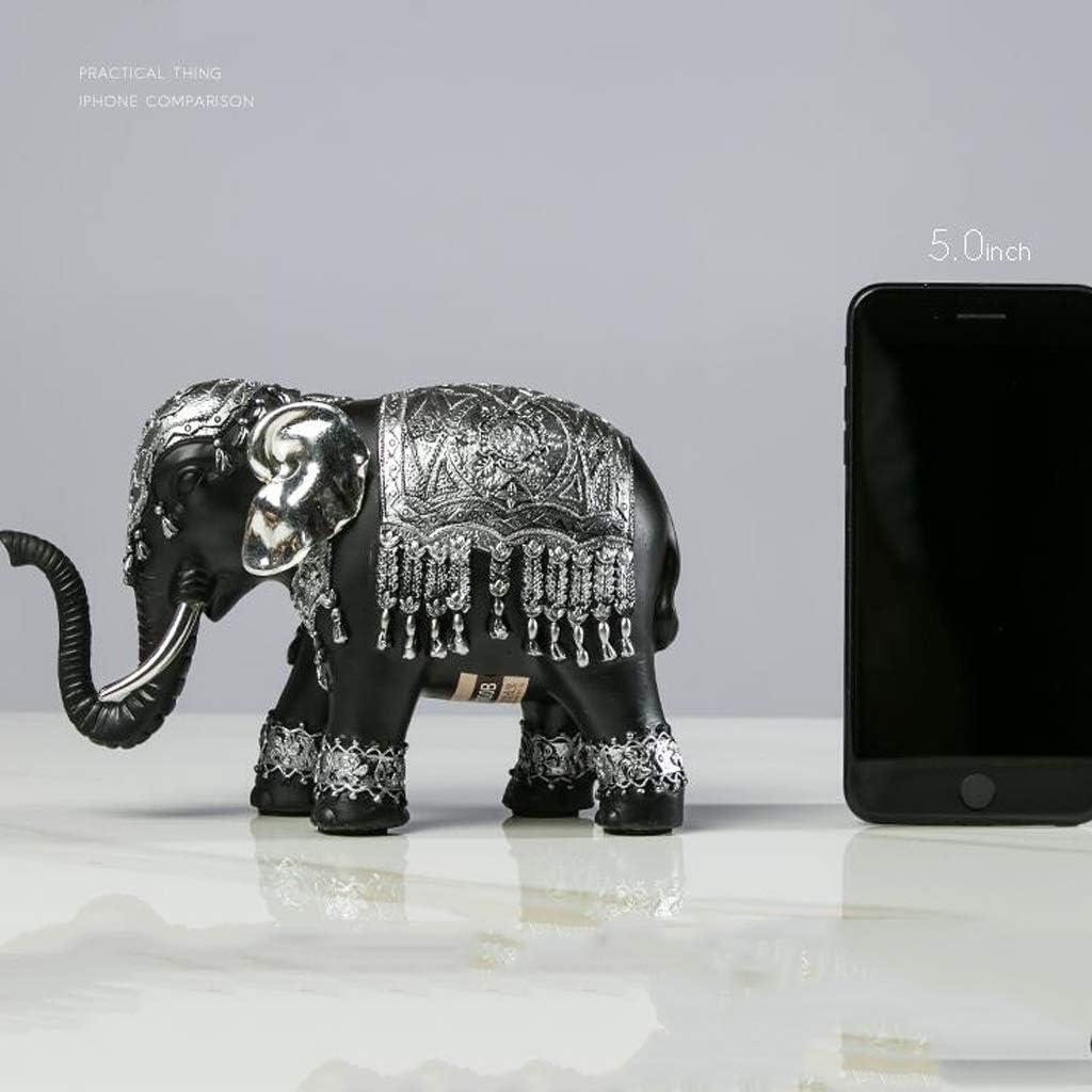 CKH Creative Lucky Elephant Retro Porch Mueble de TV Pequeños Adornos Habitación Modelo Sala de Estar Decoraciones for el hogar (Color : Black)