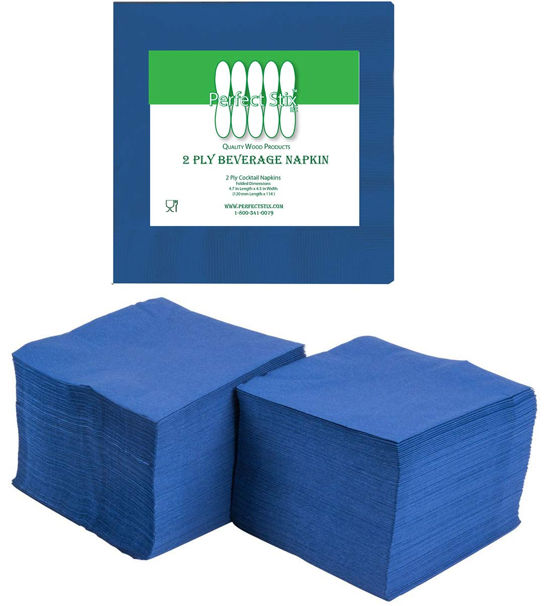 """Perfectware 2 Ply Navy Blue-200 Navy Blue Beverage Napkin Package of 200ct- 2-Ply, 2.5"""" Height, 5"""" Width, 10"""" Length (Pack of 200)"""